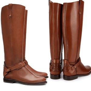 Tory Burch Cognac Leather Derby Riding Boots US 7